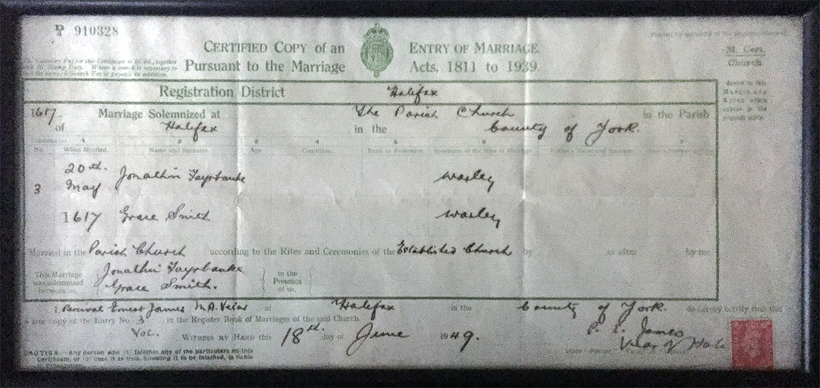 Fairbanks Marriage Certificate