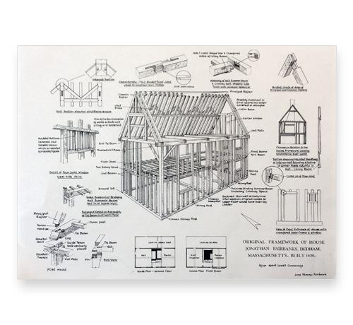 Original framework plans fairbanks house historical site for Print house plans