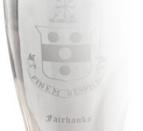 Fairbanks House - Crest edged into Glass